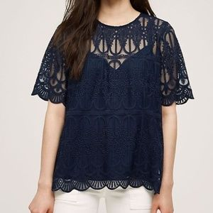 NWT Anthropologie Marka Lace Tee in Navy
